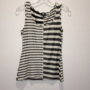 W by Worth Black and White Sparkly Tank Top